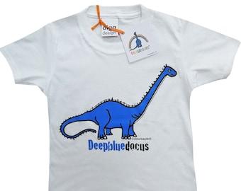 Kids unisex Diplodocus Dinosaur Cotton T.shirt. Sent in a fun rainbow mailbag!