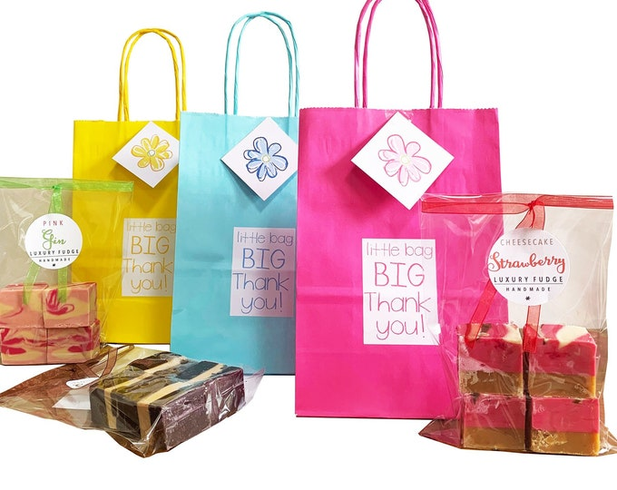Featured listing image: Pack of 3 Eco friendly gift bags with bag of luxury handmade fudge. Various flavour choices. Personalise.