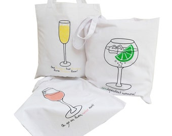 Pack of 3 'Glam drinks' White cotton Tote Bags