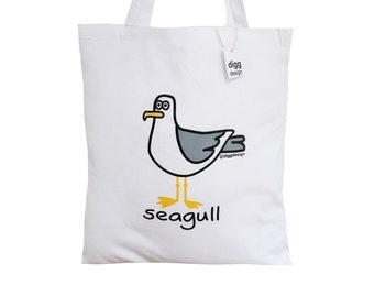 Squark! SEAGULL white cotton Tote Bag