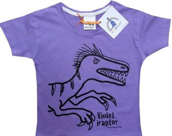 Kids unisex Velociraptor Dinosaur T.shirt. Delivered in rainbow gift bag.