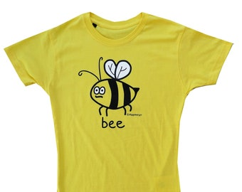 Womens Bzzzzz BEE fitted yellow T.shirt.