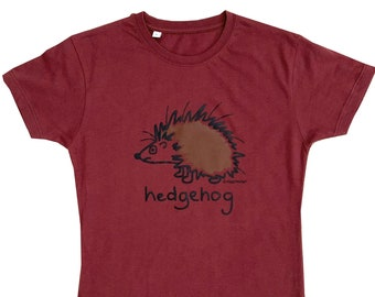 Womens HEDGEHOG fitted Plum T.shirt. Lovely Autumn colour!