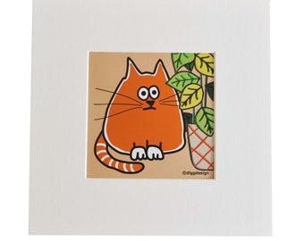 GINGER CAT. Digital download print. Print yourself.