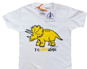 Kids unisex Triceratops Dinosaur Cotton T.shirt. Sent in a fun rainbow mailbag!