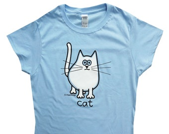 Womens cuuute CAT fitted light blue T.shirt.