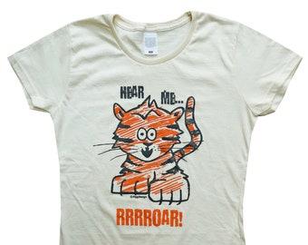 Roarrrrrr! WomensTIGER fitted cream T.shirt