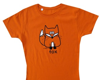 Womens funky FOX fitted orange T.shirt. Great for Autumn!