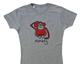 Womens cheeky MONKEY fitted grey T.shirt. various sizes.