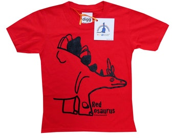 Kids unisex Stegosaurus Dinosaur T.shirt. Sent in a fun rainbow mailbag!
