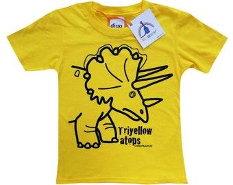 Kids unisex Triceratops Dinosaur T.shirt. Sent in a fun rainbow mailbag!