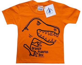 Kids unisex T-Rex Dinosaur T.shirt. Delivered in rainbow gift bag.