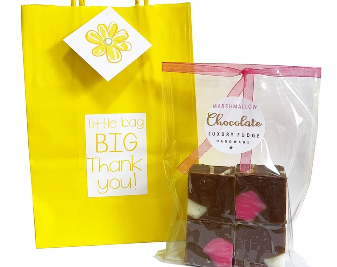 Featured listing image: Eco friendly 'THANK YOU' gift bag with bag of luxury handmade fudge. Various flavour choices. Personalise.