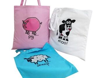 3pk Cute Tote Bags Cow/Sheep/Pig