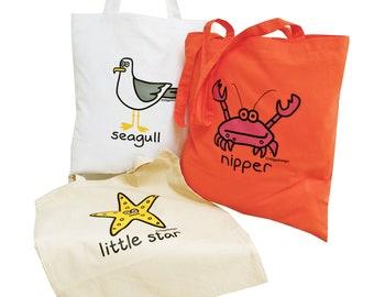 3pk Cute Tote Bags Nipper Crab/Starfish/Seagull