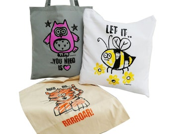 3pk Cute Tote Bags OWL/TIGER/BEE