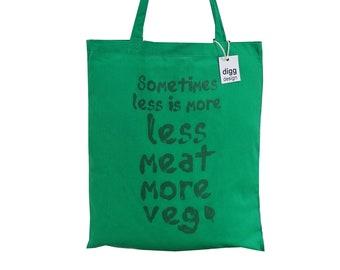 Cool 'Eat more Veg' pea green cotton Tote Bag