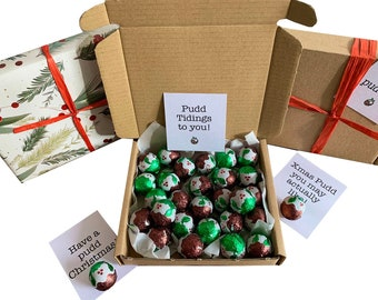 Tiny treats! Little Brown box of chocolate puddings! Ideal Xmas novelty gift etc. Personalisable.