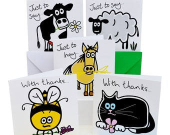THANK YOU cards. Packs of 10. Coloured envelopes. 6 designs