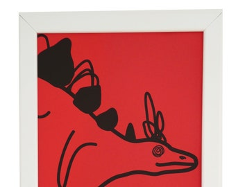 Red Stegosaurus Framed print. White wood. A4. Can hang or stand.