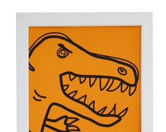 Orange T-Rex Framed print. White wood. A4. Can hang or stand.