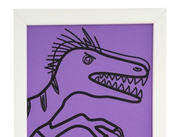 Violet Velociraptor Framed print. White wood. A4. Can hang or stand.