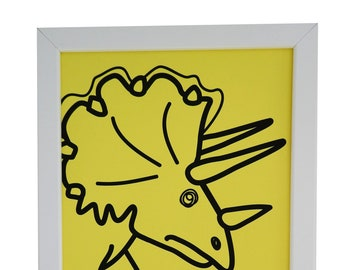 Yellow Triceratops Framed print. White wood. A4. Can hang or stand.