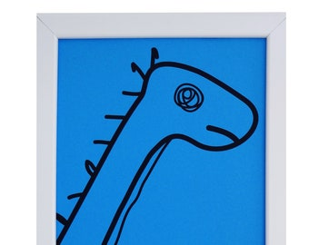 Blue Diplodocus Framed print. White wood. A4. Can hang or stand.