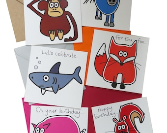 SPECIAL OFFER! PACK of 6 mixed Birthday Cards. Coloured envelopes.