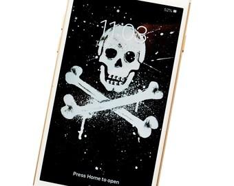 PHONE WALLPAPER. Skull & Crossbones. Digital download.
