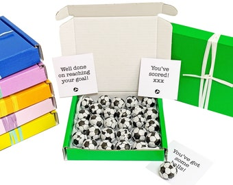 Tiny treats! Little green box of chocolate footballs. Ideal Team gift/Goal reached/birthday etc. Personalisable.