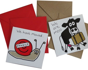 MOVING HOUSE cards. Packs of 10. Coloured envelopes. 2 designs.