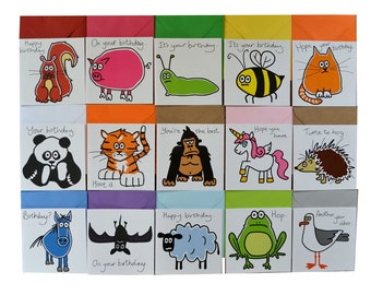 Variety Pack Of 15 BIRTHDAY Cards Adults Kids Coloured Envelopes