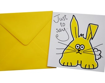Bunny  Birthday card. Comes with lovely matching coloured envelope