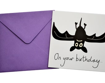 Bat Birthday card. Comes with lovely matching coloured envelope