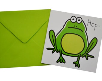 Frog Birthday card. Comes with lovely matching coloured envelope