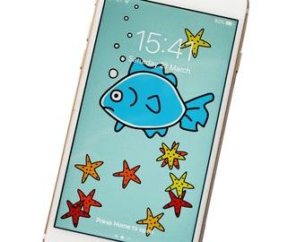 PHONE WALLPAPER. Fish. Digital download.