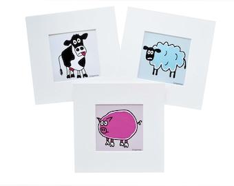Set of 3 farm animal prints. Digital downloads.