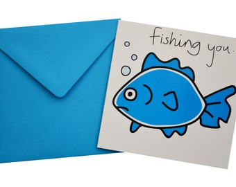 Fish Birthday card. Comes with lovely matching coloured envelope