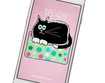 PHONE WALLPAPER. Black Cat. Digital download.