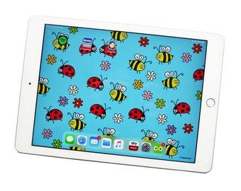 iPAD WALLPAPER. Ladybird & Bees. Digital download.