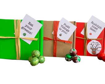 3pk of Tiny treats! Chocolate puddings/Sprouts/Reindeer noses ! Ideal Xmas novelty gift etc. Personalisable.