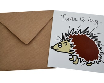 Hedgehog Birthday card. Comes with lovely matching coloured envelope