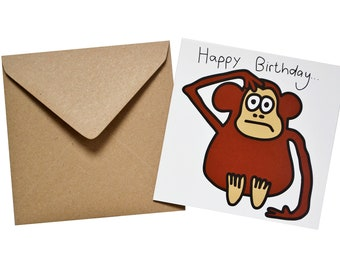 Monkey Birthday card. Comes with lovely matching coloured envelope