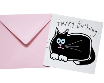 Black Cat Birthday card. Comes with lovely matching coloured envelope