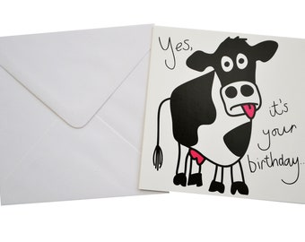 Moo Cow Birthday card. Comes with lovely matching coloured envelope