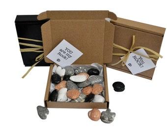 Tiny treats! Little brown  box of chocolate rocks Exam pass/anniversary/BIG birthday etc gift. Personalisable.