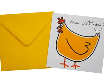 Hen Birthday card. Comes with lovely matching coloured envelope