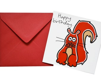 Squirrel Birthday card. Comes with lovely matching coloured envelope