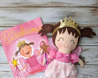 Pinkalicious, Pinkalicious doll, Pinkalicious birthday, Pinkalicious gift, Handmade doll,Rag doll,Heirloom doll,toddler gift, doll,girl gift